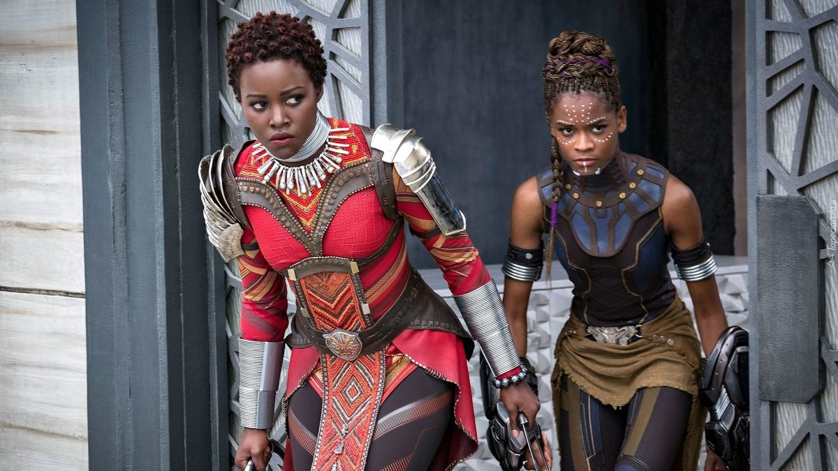 """Image of Lupita Nyong'o as Nakia and Letitia Wright as Shuri in Marvel's """"Black Panther"""""""