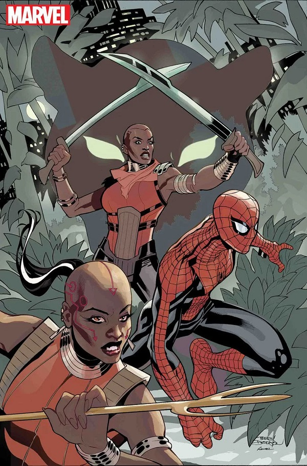 """Rachel and Terry Dodson's cover image of the Dora Milaje for """"Wakanda Forever: The Amazing Spider-Man"""" (Credit: Marvel Comics)"""