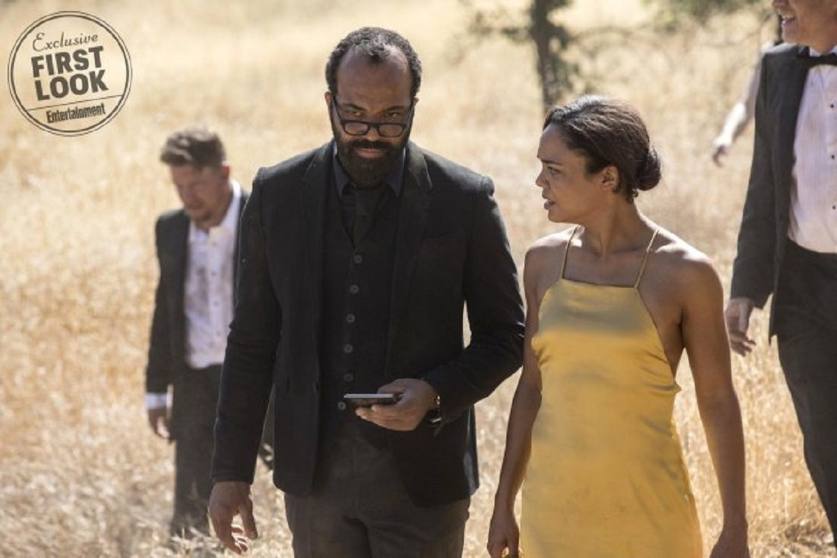Jeffrey Wright as Bernard and Tessa Thompson as Charlotte in a scene from HBO's Westworld