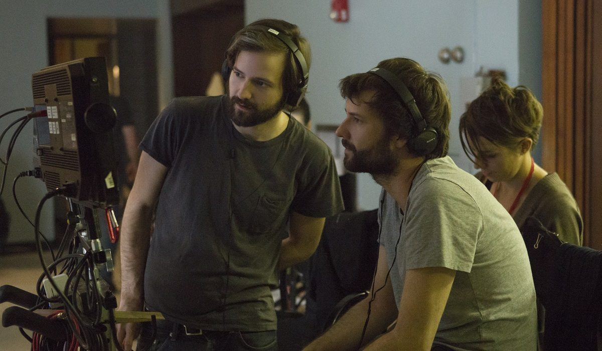 """Behind-the-scenes photo of the Duffer Brothers on """"Stranger Things"""" Season 2 (Credit: Netflix)"""