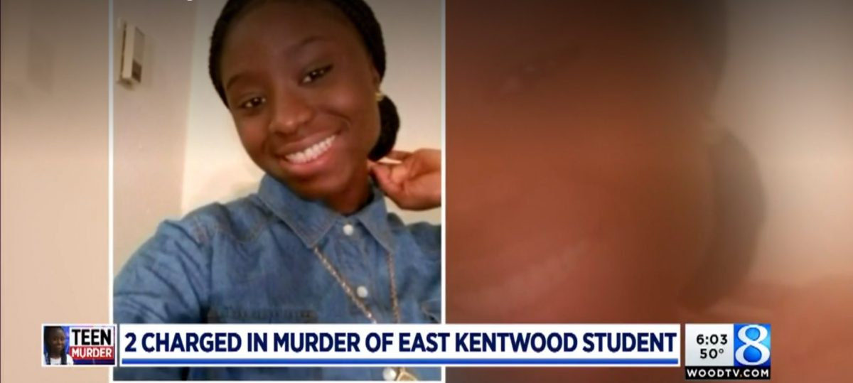 Mujey Dumbuya photo in a news report about her alleged murder at the hands of the man she was going to testify against for rape, Quinn James, in Kalamazoo, MI on WOODTV.