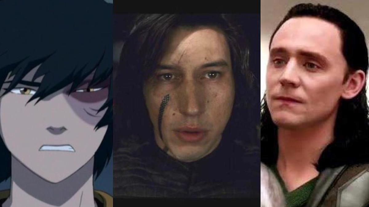 Zuko from Avatar, Kylo Ren from Star Wars, and Loki from Thor