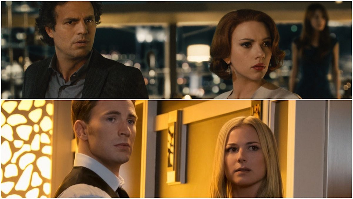 Steve Rogers and Sharon Carter and Natasha Romanoff and Bruce Banner