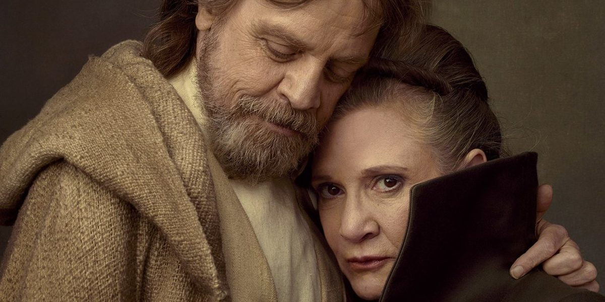 Mark Hamill and Carrie Fisher reunited as siblings Luke Skywalker and Leia Organa in Star Wars: The Last Jedi