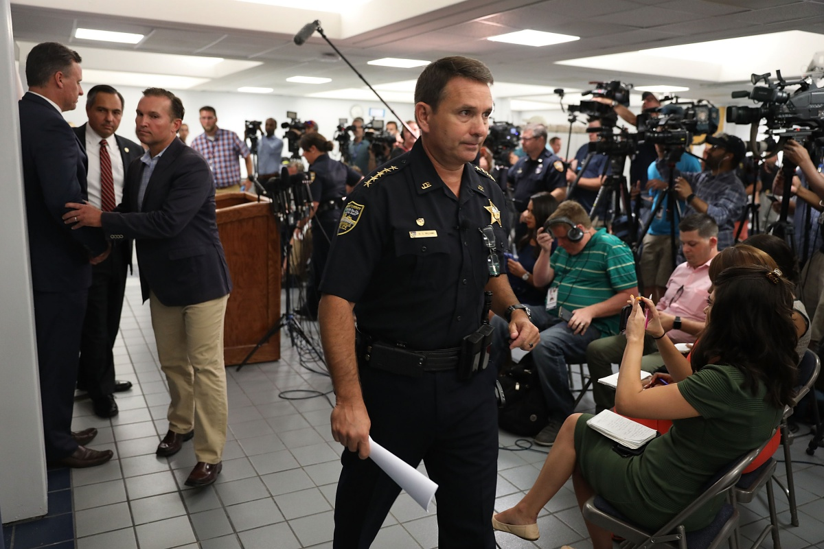 JACKSONVILLE, FL - AUGUST 27: Jacksonville Sheriff Mike Williams exits after speaking to the media about the shooting at GLHF Game Bar where 3 people including the gunman were killed at the Jacksonville Landing on August 27, 2018 in Jacksonville, Florida. The shooting occurred at the GLHF Game Bar during a Madden 19 video game tournament and 3 people were killed including the gunman and several others were wounded. (Photo by Joe Raedle/Getty Images)