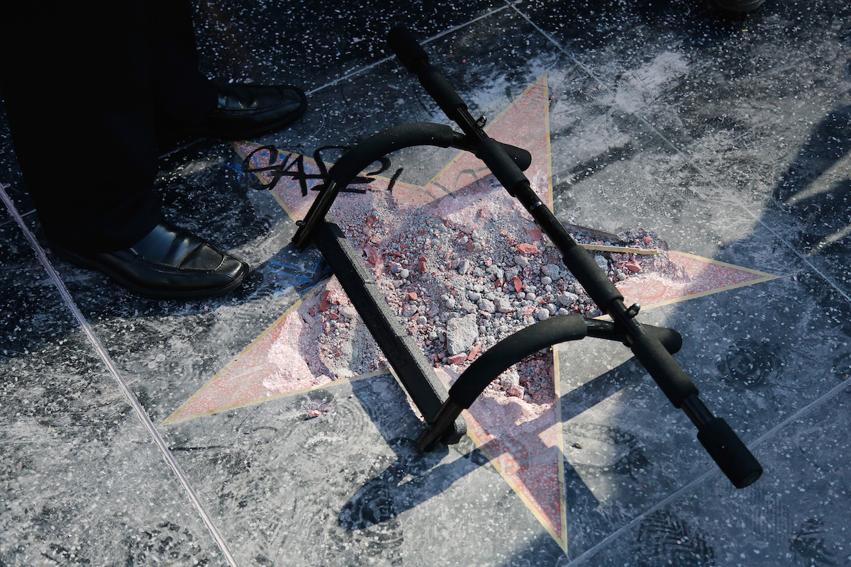 trump star walk of fame carrie fisher replace