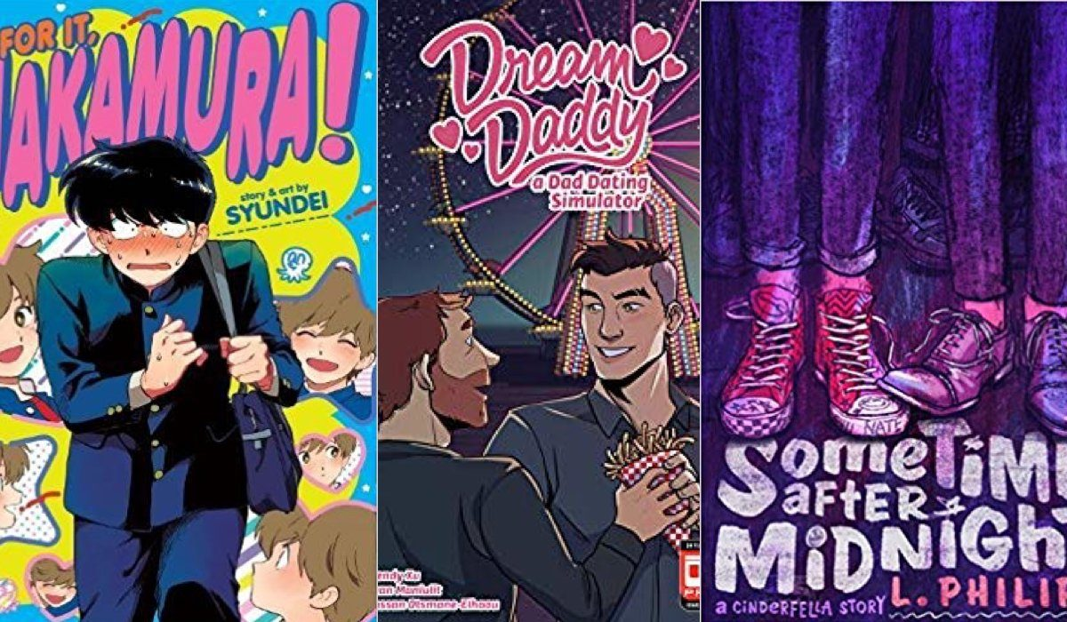 book covers: go for it nakamura!, dream daddy, and sometime after midnight