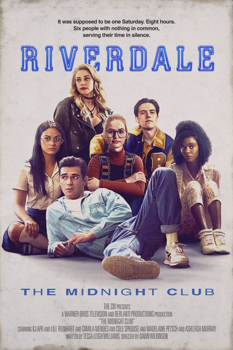 """The CW's Riverdale cast on a Breakfast Club homage poster for """"The Midnight Club."""""""