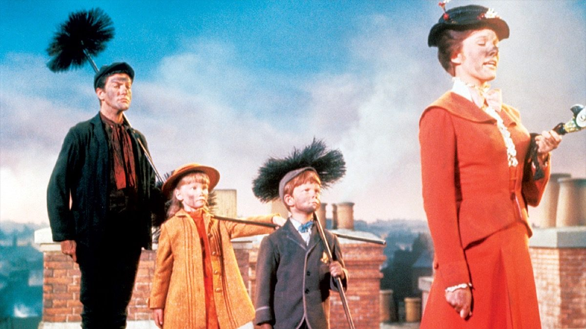 Mary Poppins, Bert, and the Banks children in Disney's Mary Poppins.