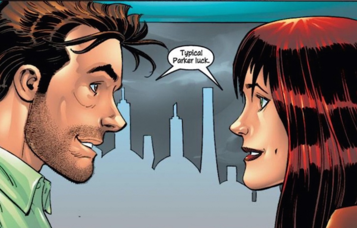 mary jane watson and peter parker panel in marvel comics