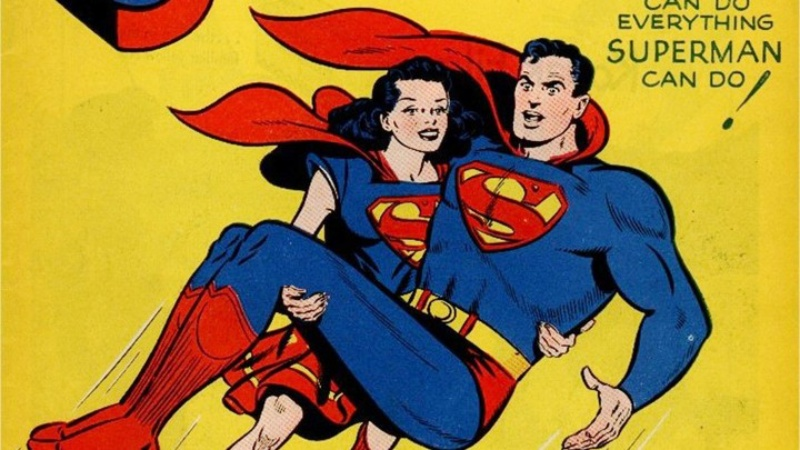 Superman being carried in the air by Lois Lane