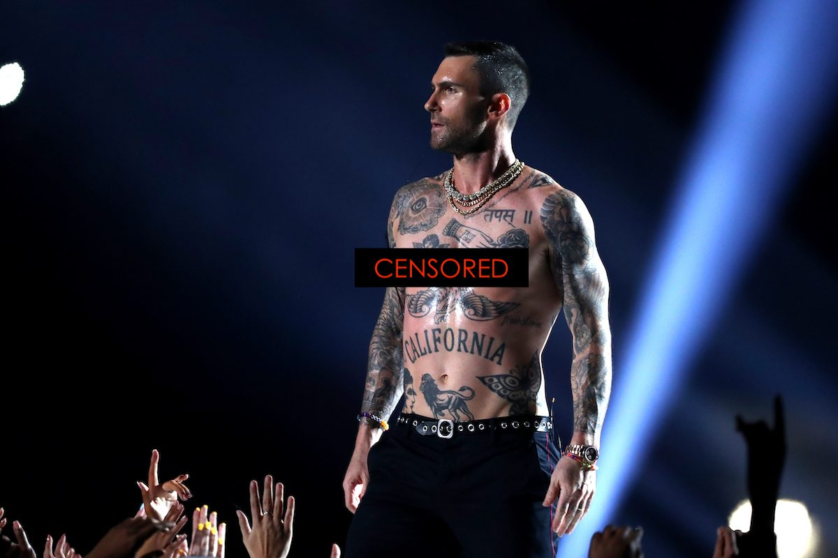 Adam Levine of Maroon 5 performs shirtless during the Pepsi Super Bowl LIII Halftime Show