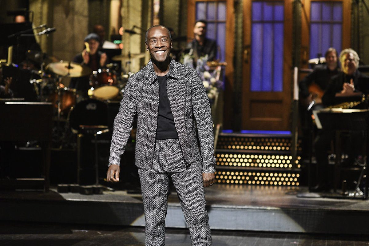 Host Don Cheadle wearing a fantastic suit during the Saturday Night Live monologue