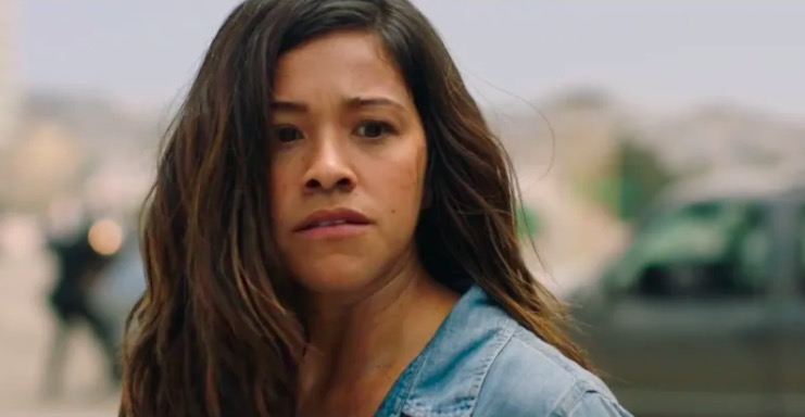 Gina Rodriguez looking scared in Miss Bala.