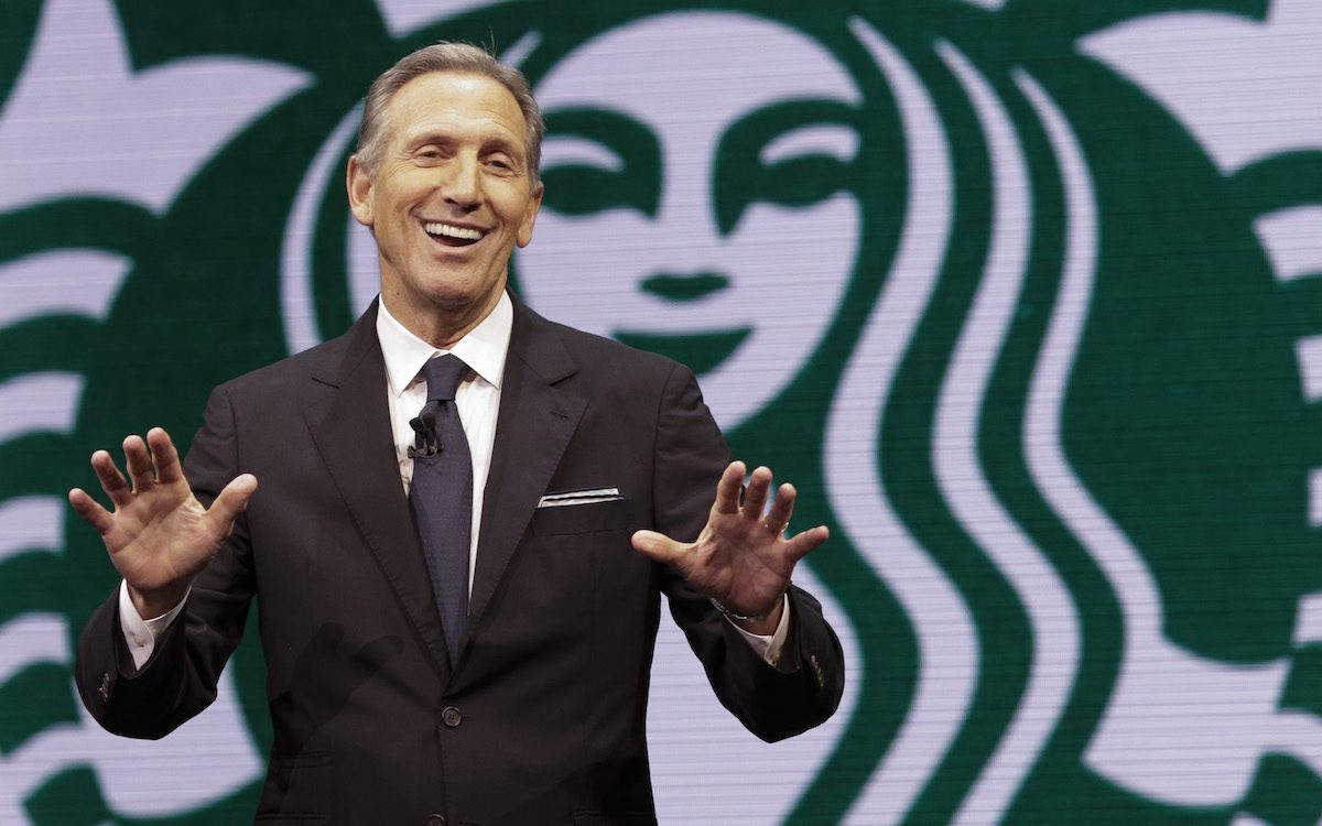 Starbucks Chairman and CEO Howard Schultz speaks at the Annual Meeting of Shareholders