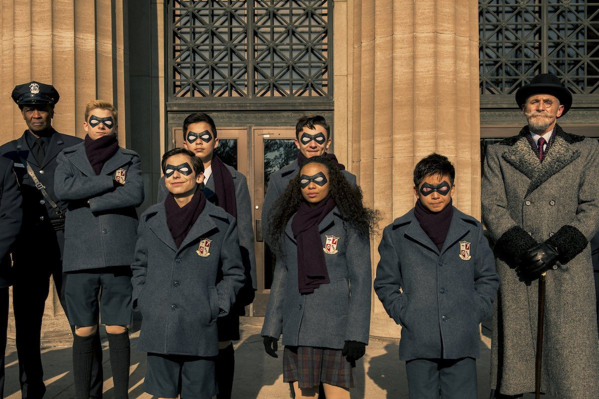 The Umbrella Academy kids in uniform.