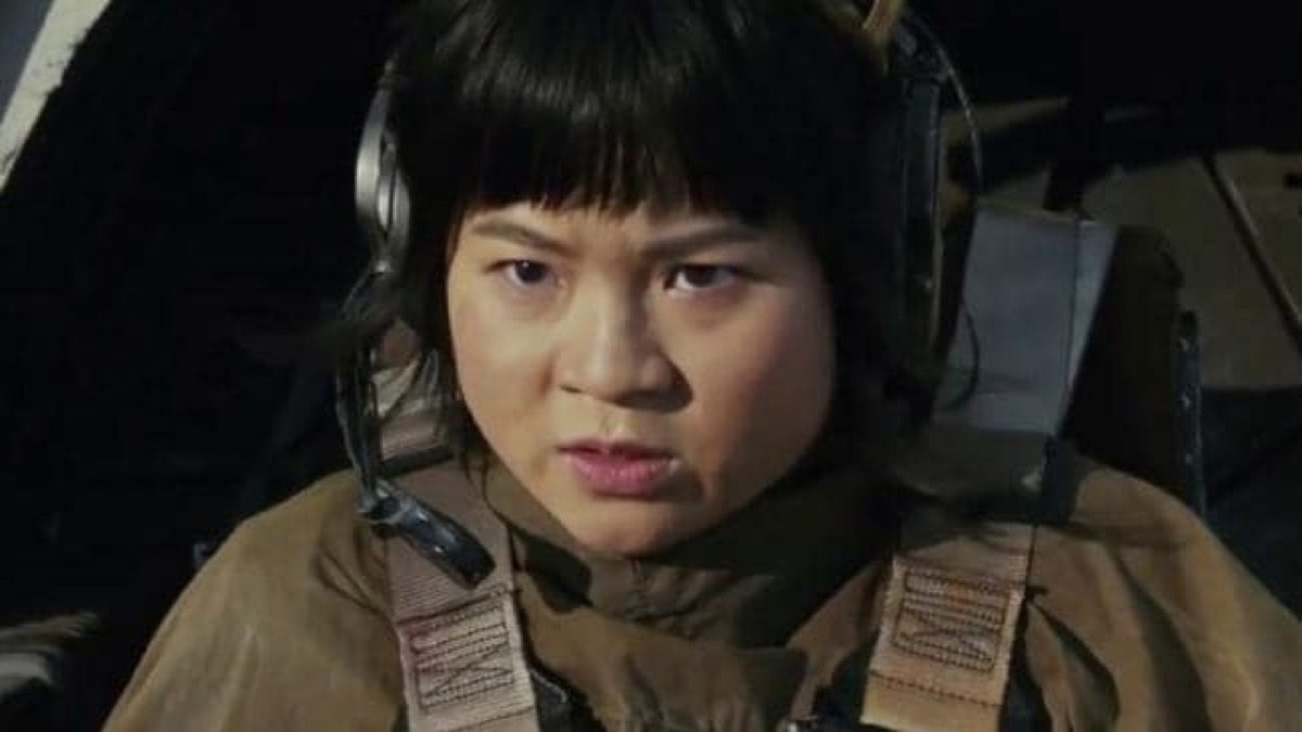 Kelly Marie Train as Rose Tico piloting a ship in Star Wars: The Last Jedi.