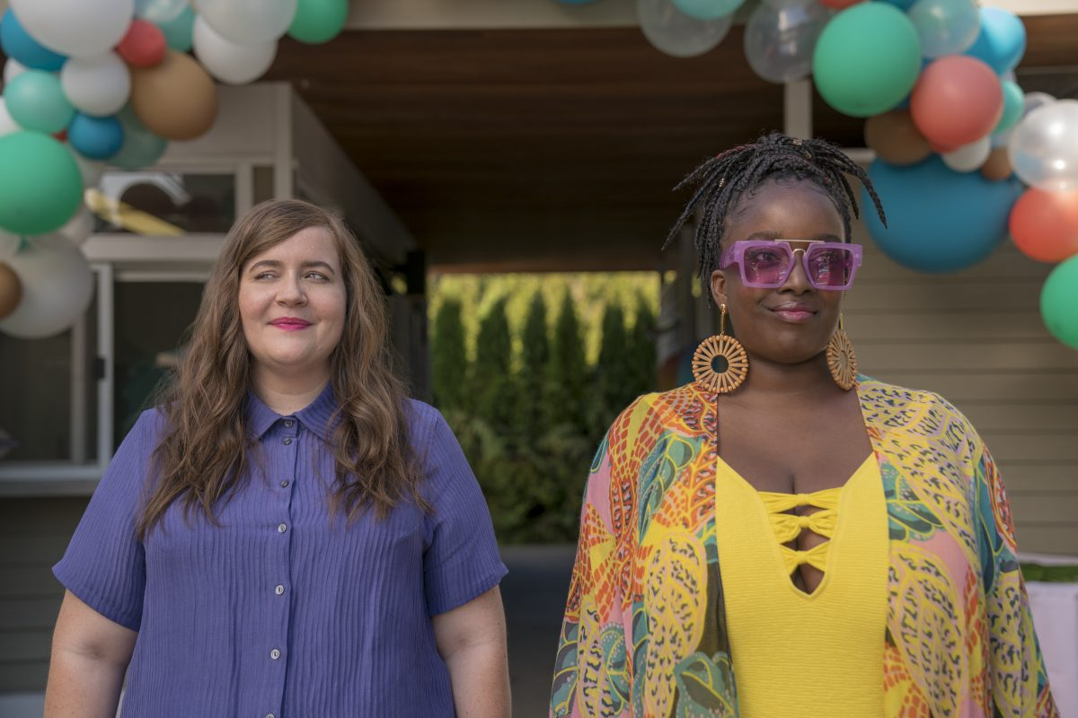Aidy Bryant and Lolly Adefope hit the pool party in Hulu's Shrill.