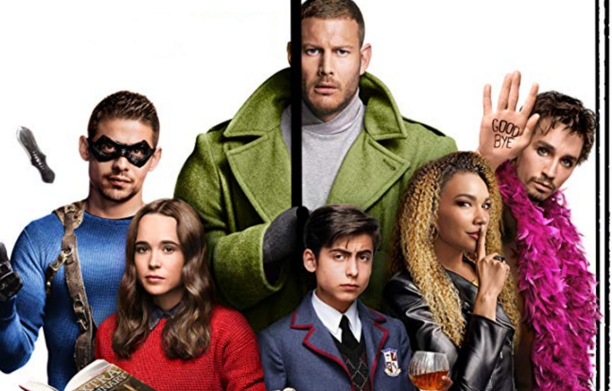 The Umbrella Academy Cast together in better costumes than they get on the show, except for Klaus, duh.