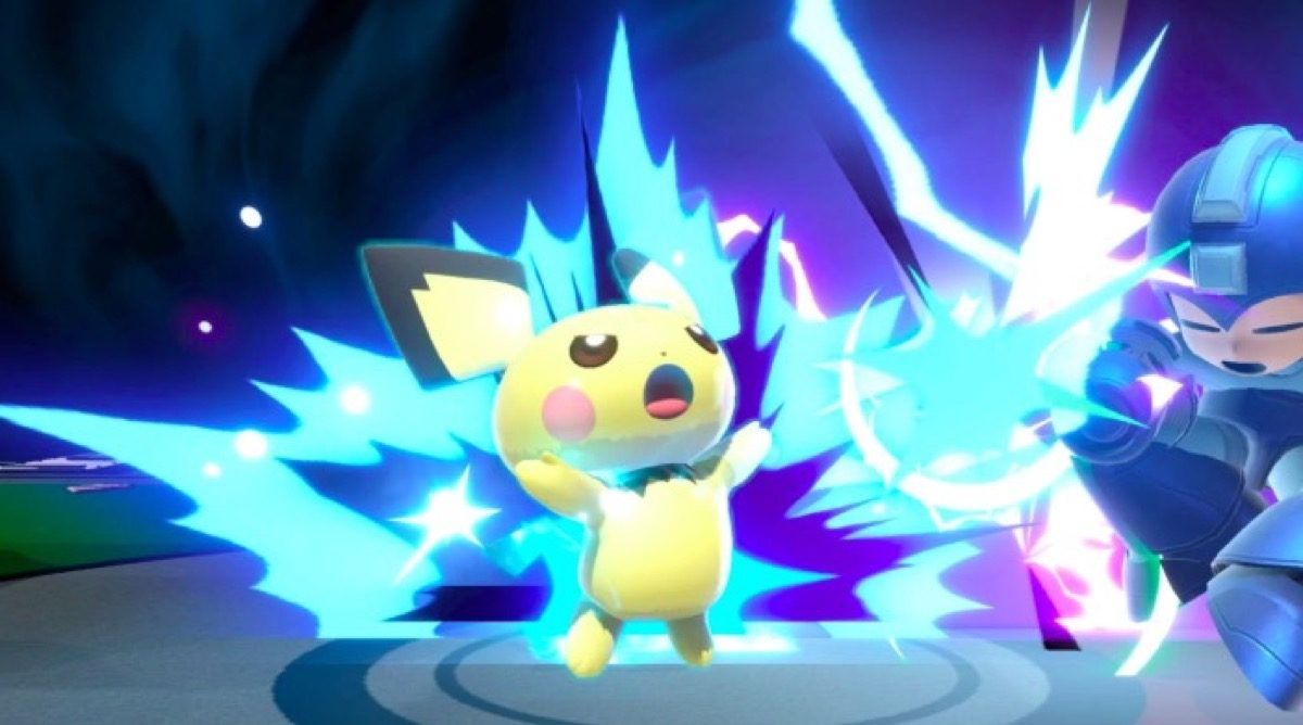 Pichu uses Thunder in Super Smash Bros. Ultimate.