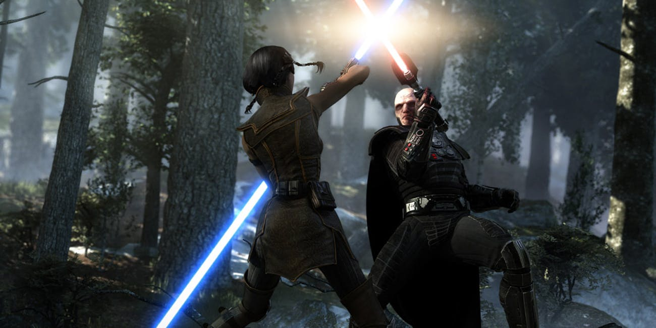 A Jedi and Sith do battle in this still from Star Wars: Knights of the Old Republic
