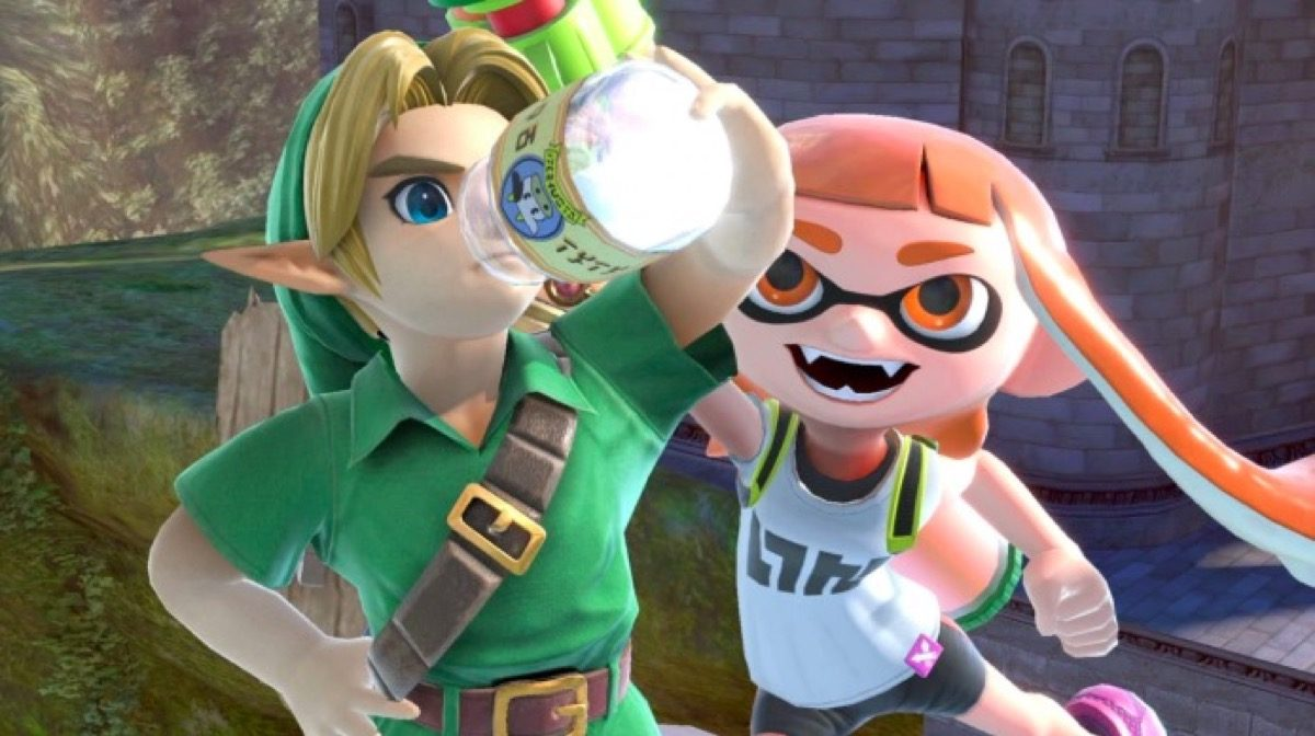 Young Link drinks Lon Lon milk in Smash Ultimate.
