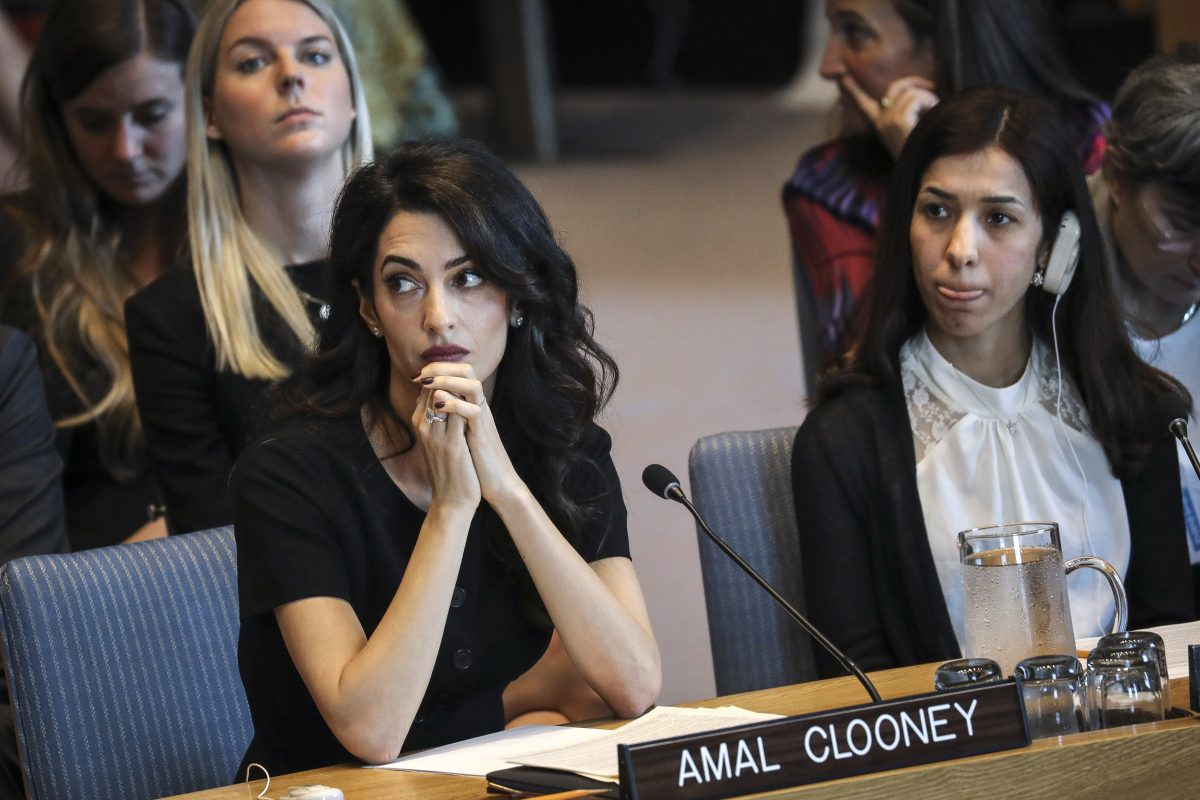 Human rights lawyer Amal Clooney and Iraqi human rights activist Nadia Murad Basee Taha attend a United Nations Security Council meeting at U.N. headquarters, April 23, 2019 in New York City. Member nations of the Security Council are considering a resolution concerning sexual violence in conflict, which would classify rape as a weapon of war.