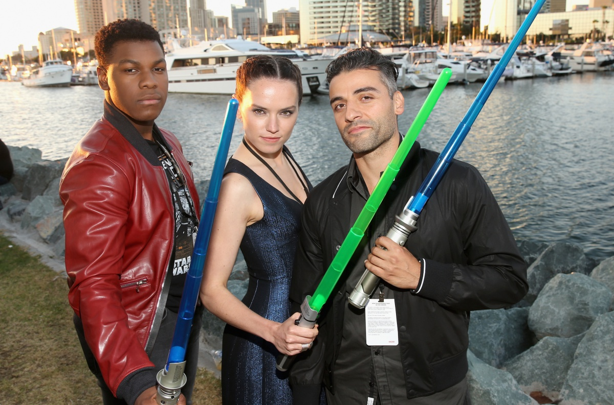 Actors John Boyega, Daisy Ridley, Oscar Isaac and more than 6000 fans enjoyed a surprise 'Star Wars' Fan Concert performed by the San Diego Symphony, featuring the classic 'Star Wars' music of composer John Williams, at the Embarcadero Marina Park South on July 10, 2015 in San Diego, California. (Photo by Jesse Grant/Getty Images for Disney)