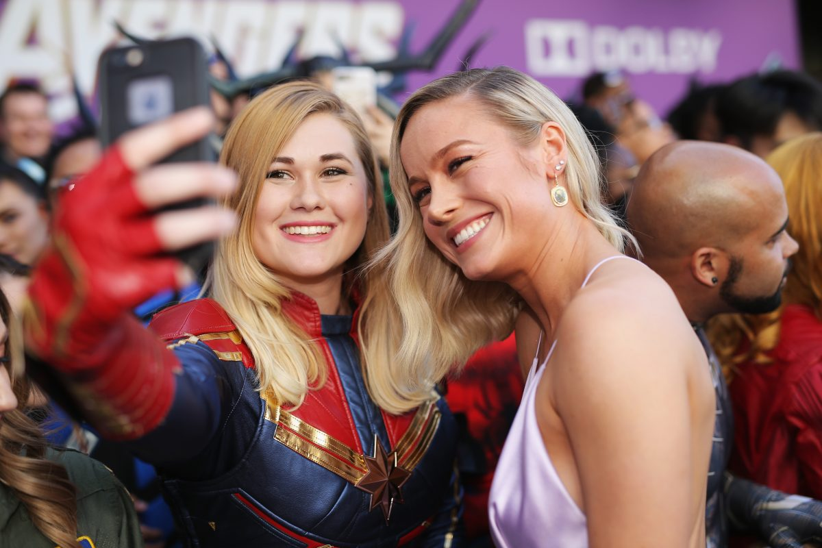 Brie Larson with a fan at the premiere of Avengers: Endgame