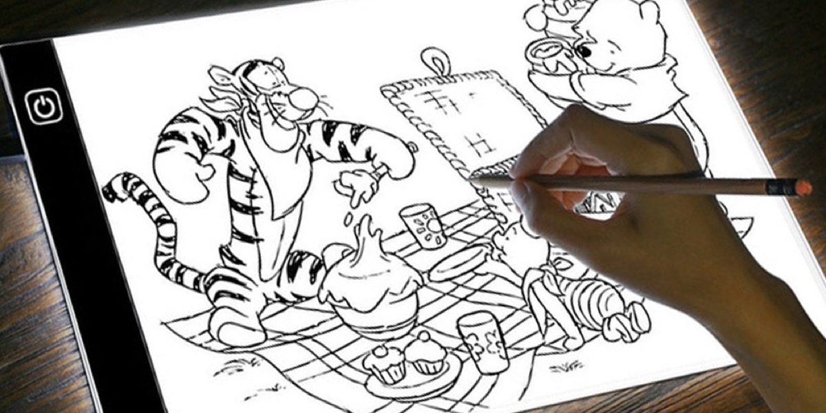 Winnie the Pooh drawing on a digital tablet.