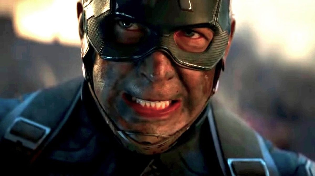 Captain America looking a bit roughed up but determined in the Avengers: Endgame trailer.