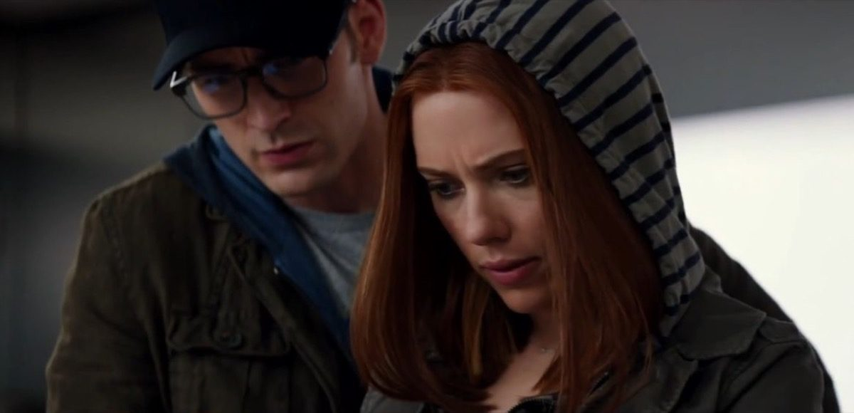 Black Widow and Captain America in disguise in Captain America: Winter Soldier.