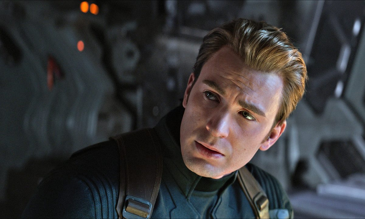 chris evans as captain america in avengers endgame.