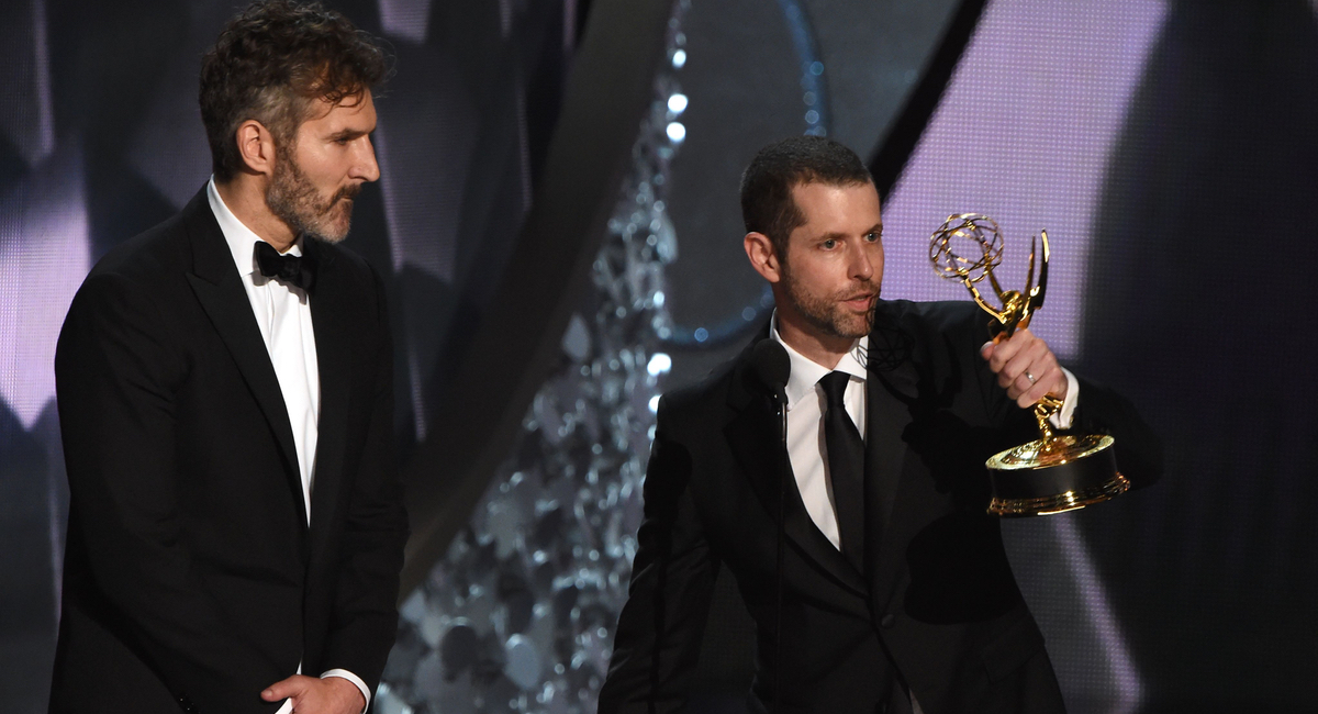 "Writer/producers David Benioff (L) and D.B. Weiss accept the Outstanding Writing for a Drama Series for ""Game of Thrones"" episode Battle of the Bastards during the 68th Emmy Awards show on September 18, 2016 at the Microsoft Theatre in downtown Los Angeles. / AFP / Valerie MACON (Photo credit should read VALERIE MACON/AFP/Getty Images)"