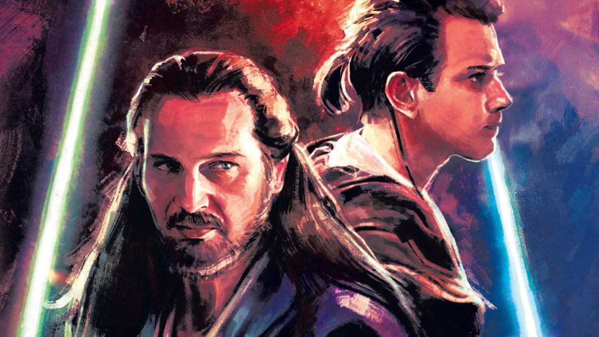 Obi-Wan and Qui-Gon Jinn on the cover of Star Wars Master & Apprentice novel.