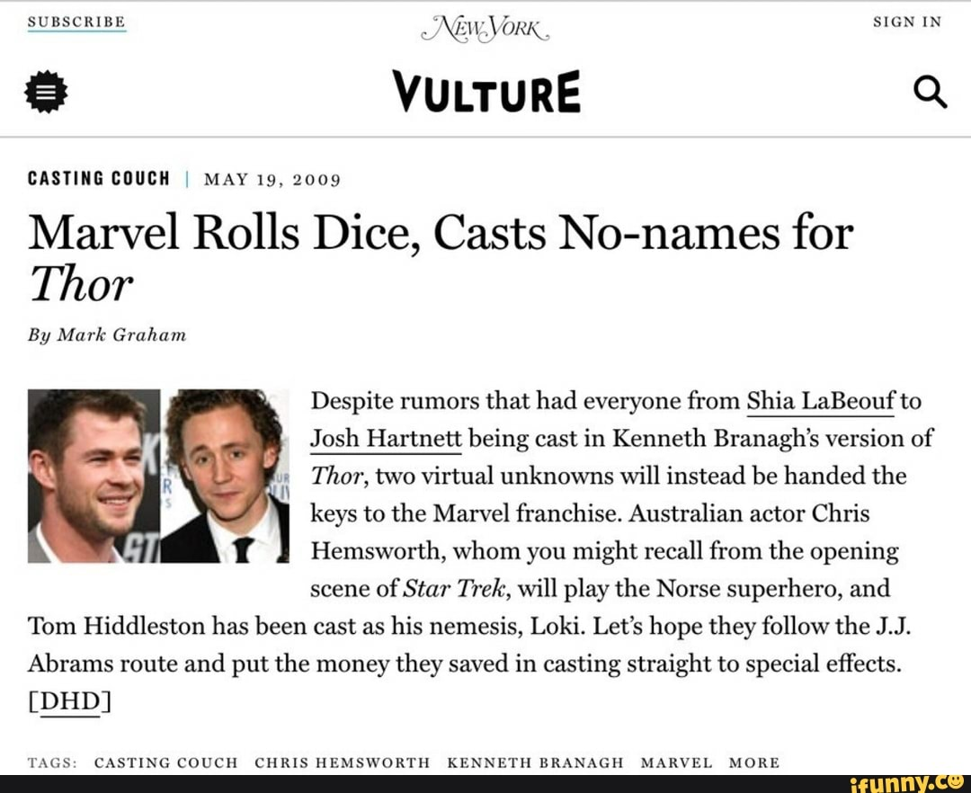 Back in the day, the casting of Chris Hemsworth and Tom Hiddleston was seen as a massive gamble.