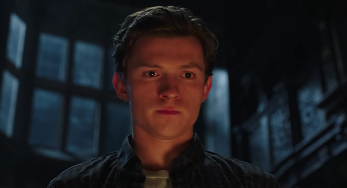 Peter Parker (Tom Holland) reflects in a quiet moment from the Spider-Man: Far From Home trailer.