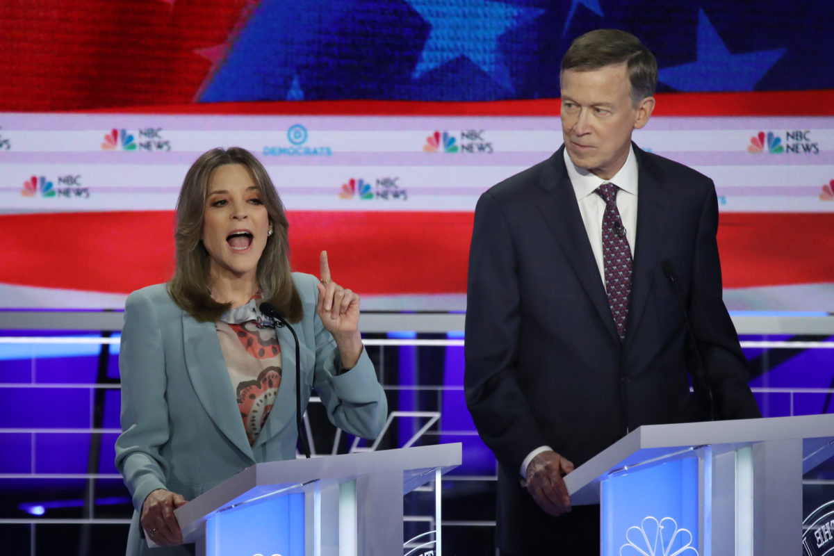 marianne williamson and john hickenlooper at the democratic debates.