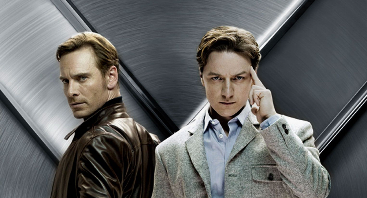 Charles Xavier (James McAvoy) and Erik Lehnsherr (Michael Fassbender) as young men in X-Men: First Class.