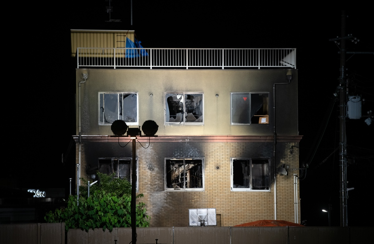 The Kyoto Animation Co studio building is pictured after being set ablaze by an arsonist on July 18, 2019 in Kyoto, Japan. Thirty three people are believed dead and dozens injured after a suspected arson attack on the animation studio. Police were quoted by local media as saying a 41 year-old man broke into the Kyoto Animation Co studio on Thursday morning and sprayed petrol before igniting it. Japan's Prime Minister Shinzo Abe described the incident as 'too appalling for words'. (Photo by Carl Court/Getty Images)