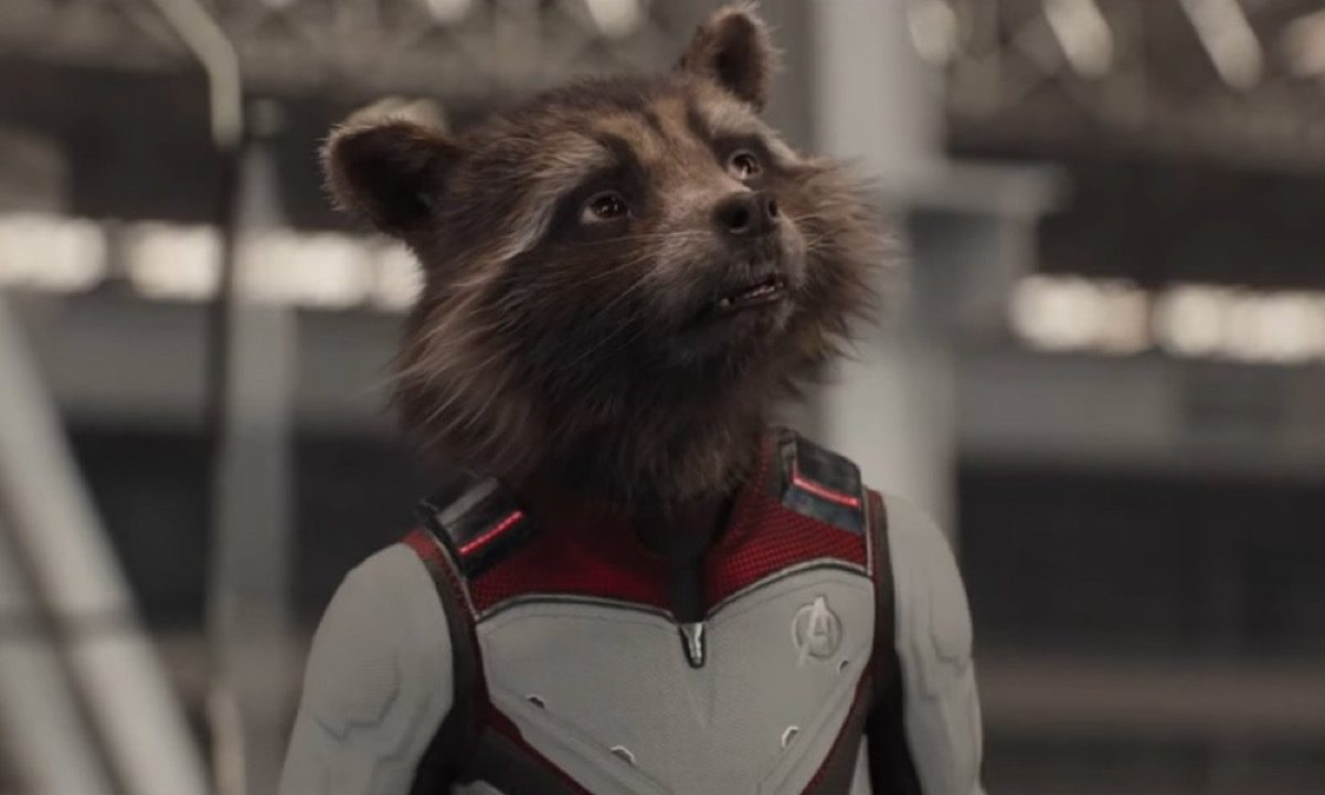 Rocket Raccoon in his quantum realm time travel suit in Marvel's Avengers: Endgame.