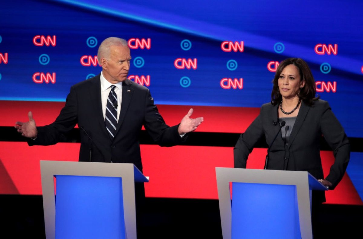Kamala Harris frustrated by a bewildered Joe Biden during the Democratic presidential debates for 2020.