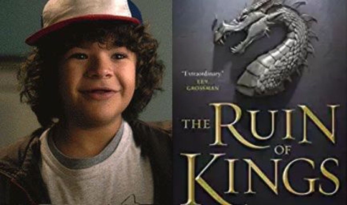 Dustin on Stranger Things and The Ruin of Kings book cover.