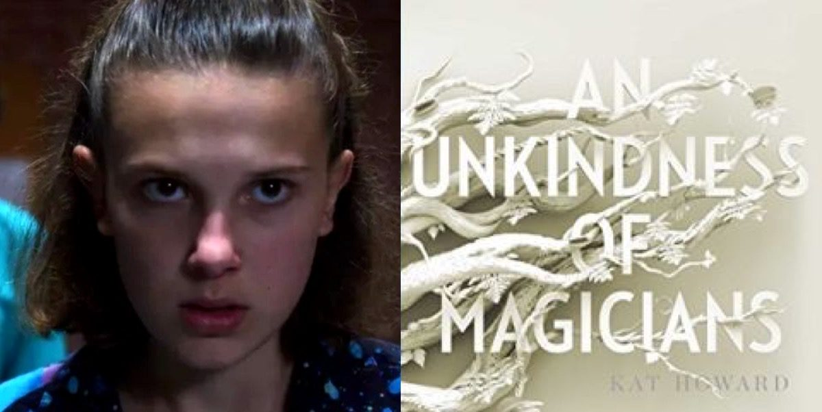Eleven in Netflix's Stranger Things and An Unkindness of Magicians book cover.