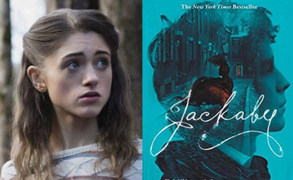 Nancy in Stranger Things and Jackaby book cover.