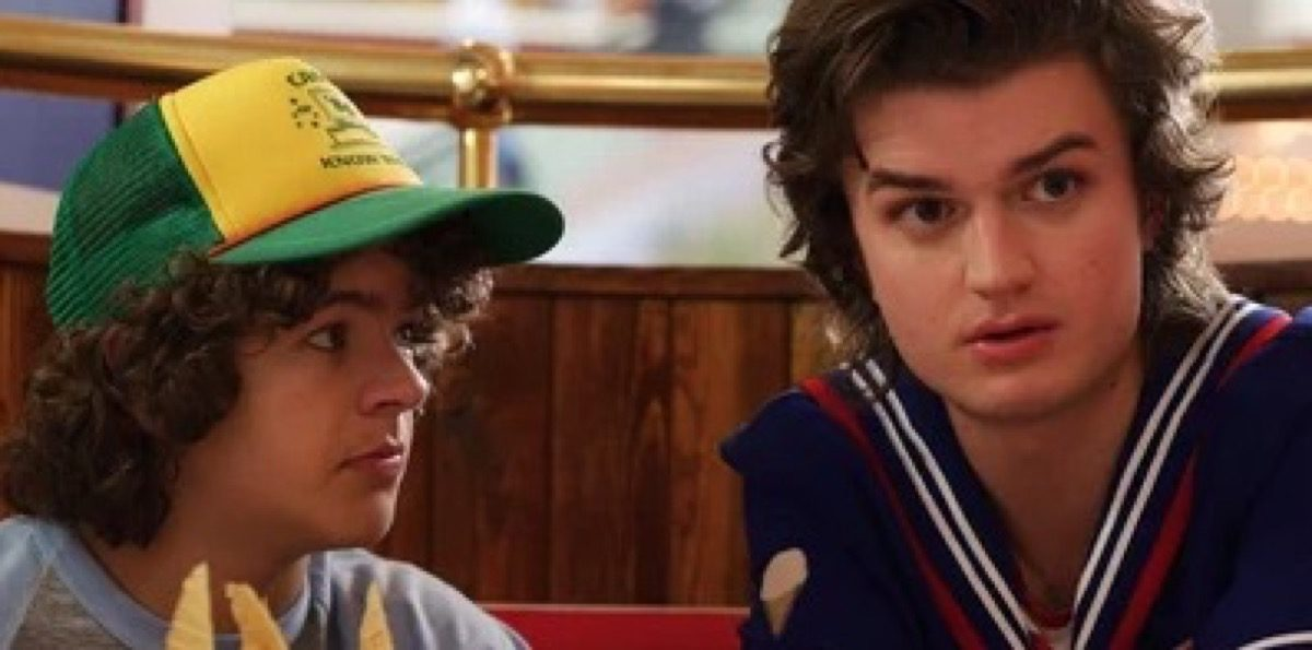 Steve Harrington and Dustin on Netflix's Stranger things.