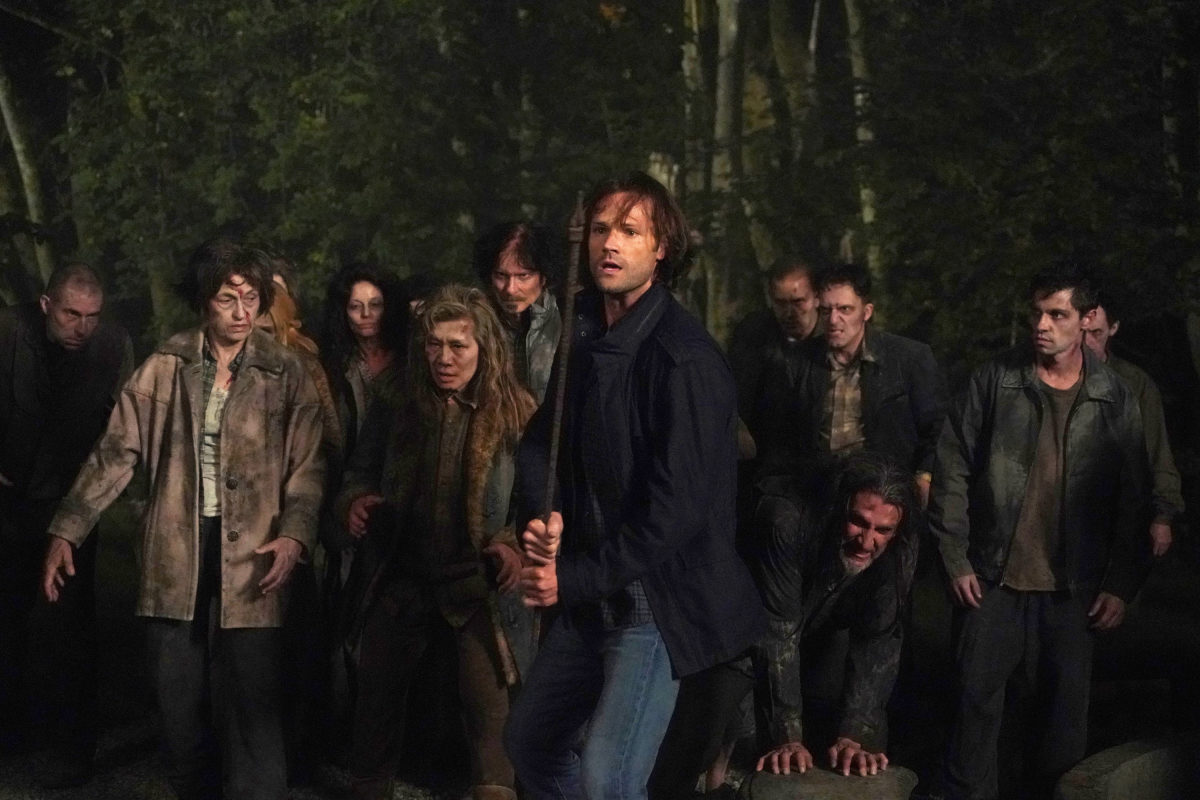 Sam Winchester fights some hell zombies