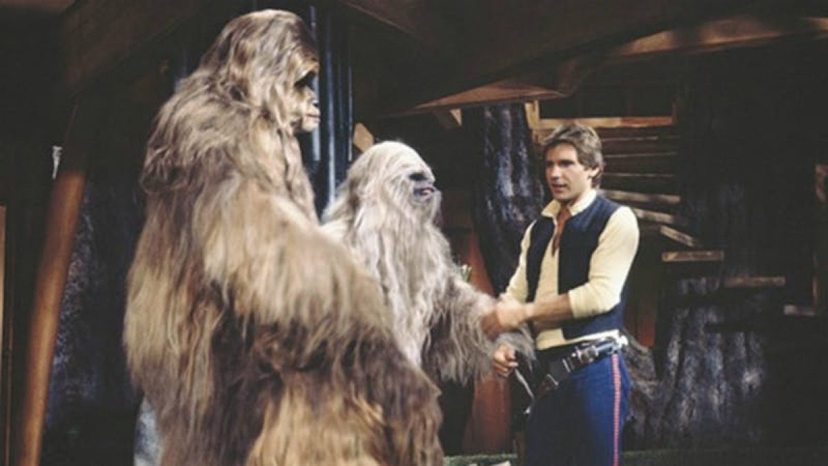 Han Solo hanging out with some Wookiees.