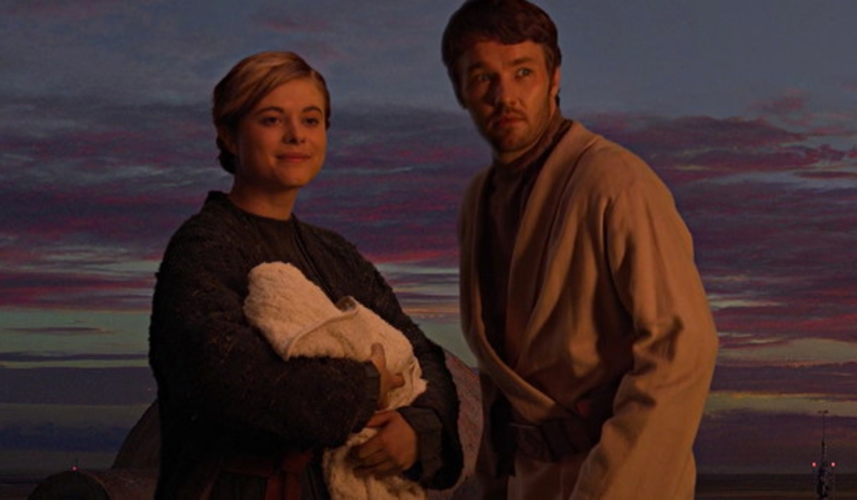 Owen and Beru Lars at the end of Star Wars Episode III: Revenge of the Sith.
