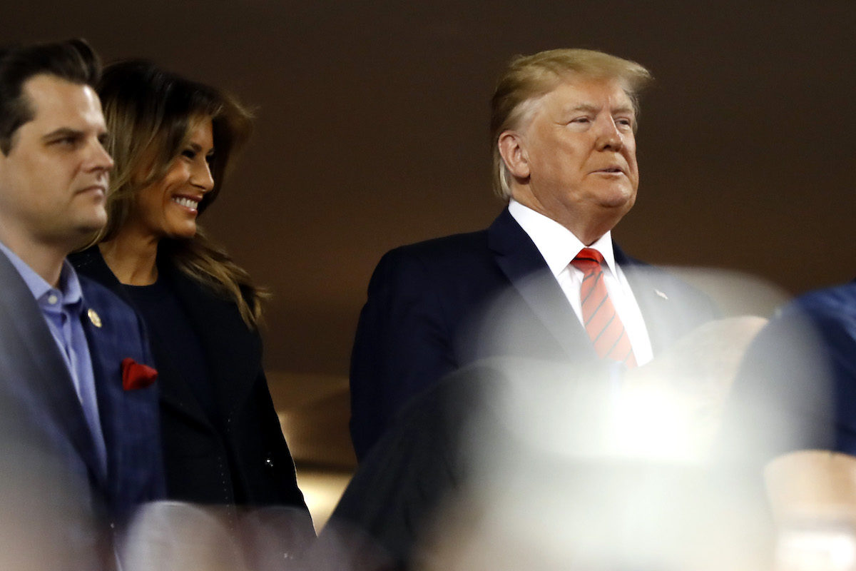 Melania and Donald Trump attend Game Five of the 2019 World Series